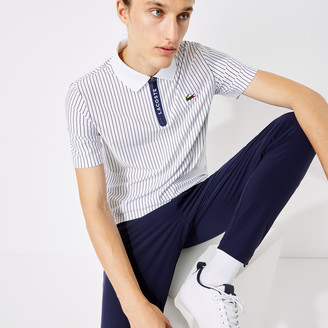 Lacoste Men's SPORT Pinstriped Breathable Zippered Golf Polo Shirt
