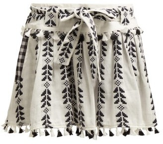 Dodo Bar Or Ariana Geometric Embroidered Cotton Mini Skirt - Womens - Black White