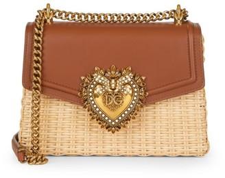 Dolce & Gabbana Devotion Wicker & Leather Shoulder Bag