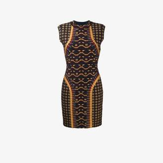 Alaia Brown Woven Wool Patterned Sleeveless Bodycon Dress, Size: 36