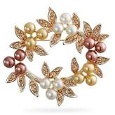 Bling Jewelry Simulated Pearl Christmas Wreath Bridal Brooch Pin Rose Gold Plated.