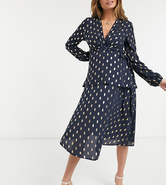 Queen Bee plunge front tiered midi dress with belt detail in navy fleck print