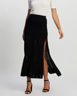 Atmos & Here Atmos&Here - Women's Black Midi Skirts - Mia Knit Skirt - Size 6 at The Iconic