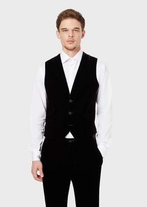 Giorgio Armani Velvet Waistcoat With Satin Back