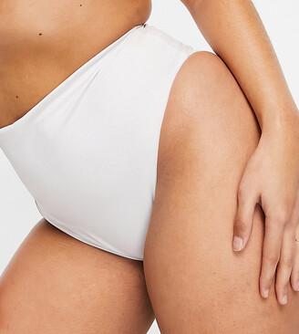 ASOS DESIGN recycled curve mix and match high leg high waist bikini bottom in white