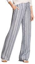 Nic+Zoe Linen-Blend Striped Fringed-Cuff Pants