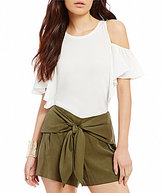 Gianni Bini Maxine Mix Media Cold-Shoulder Top