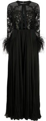 ZUHAIR MURAD Feather-Cuff Slit-Hem Gown