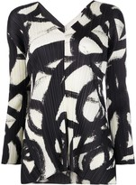 Pleats Please Issey Miyake paint print pleated blouse
