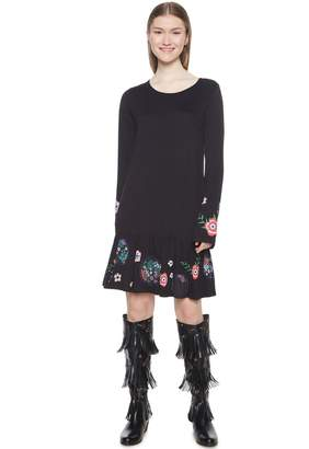 Desigual Short Flared Dress with Floral Motif