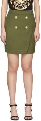 Balmain Khaki 4-Button Wrap Skirt