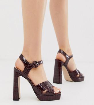 Office Huda exclusive chocolate croc effect platform heeled sandals-Multi