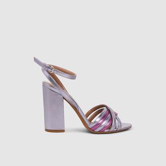 Tabitha Simmons Purple Toni Block Heel Metallic Sandals IT 38.5