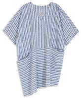 Melissa McCarthy Plus Striped Asymmetrical Shift Dress with Pockets