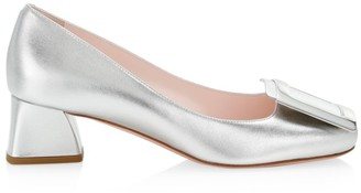 Roger Vivier Tres Vivier Metallic Leather Pumps