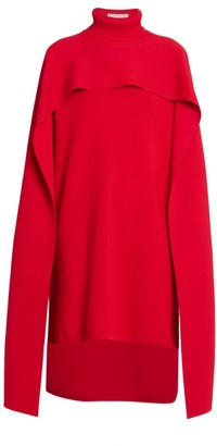 Givenchy Turtleneck Knit High-Low Cape Dress
