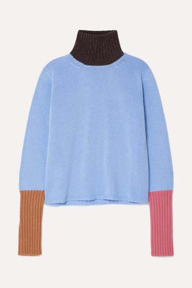 Marni Color-block Cashmere Turtleneck Sweater - Light blue