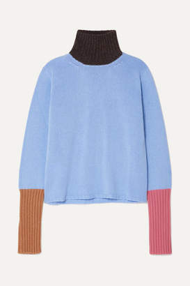 Marni Color-block Cashmere Turtleneck Sweater - Light blue