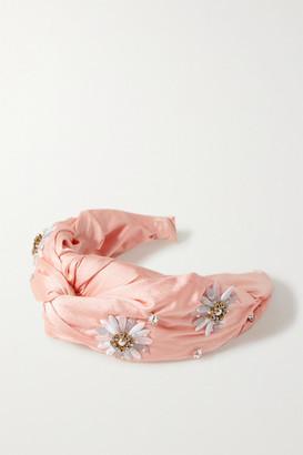 MaryJane Claverol Nereid Knotted Embellished Satin Headband - Peach