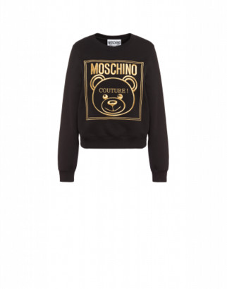 Moschino Gold Teddy Label Cotton Sweatshirt Woman Black Size 38 It - (4 Us)