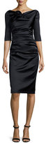 Talbot Runhof Gosling 3/4-Sleeve Ruched Satin Dress, Black