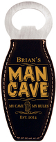 Black 'Man Cave' Personalized Magnetic Bottle Opener