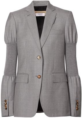 Burberry Panelled-sleeve Wool Tailored Jacket