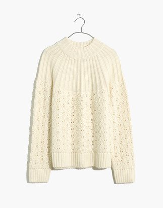 Madewell Pointelle Stitch-Mix Mockneck Sweater