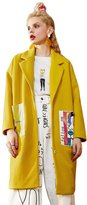 Elf Sack Women's Autumn Wool Floral Print Long Trench Jacket