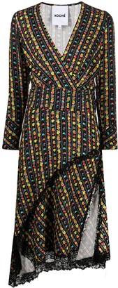 Koché Asymmetrical Floral Stripe Dress