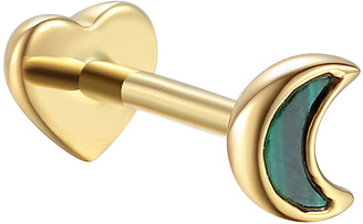Pamela Love Malachite Inlay Moon Single Thread Through Stud Earring - Yellow Gold