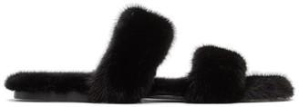 Saint Laurent Black Mink Bleach Slides