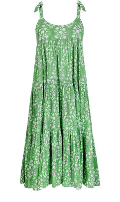 Juliet Dunn Pleated Floral Cotton Midi Dress