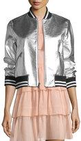 Alice + Olivia Demia Leather Crop Bomber Jacket