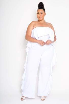 Couture Buxom Strapless Ruffled Jumpsuit in White Size 3X