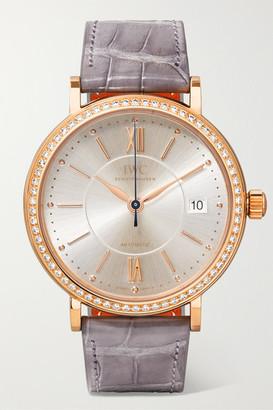 IWC SCHAFFHAUSEN Portofino Automatic 37mm 18-karat Red Gold, Alligator And Diamond Watch - Rose gold