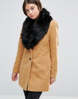 Vero Moda Faux Fur Collared Tailored Coat