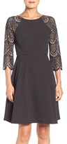 London Times Lace Panel Fit & Flare Dress