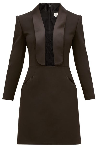 Alexander McQueen Lace-insert Tailored Wool-blend Mini Dress - Black