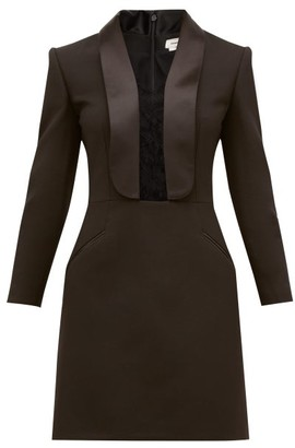 Alexander McQueen Lace-insert Tailored Wool-blend Mini Dress - Black