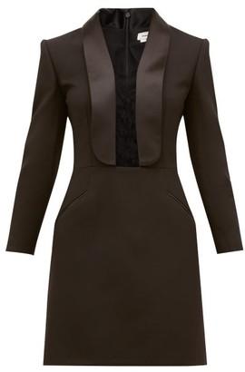 Alexander McQueen Lace-insert Tailored Wool-blend Mini Dress - Womens - Black