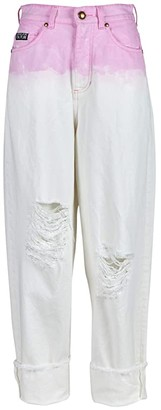 Versace Degrade Barrel Destructed Jeans with Cuffed Hem in Rose Wild Orchid (Rose Wild Orchid) Women's Jeans