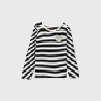 Cat & Jack Girls' Long Sleeve Sequin Heart Pocket Hit Striped T-Shirt - Cat & JackTM