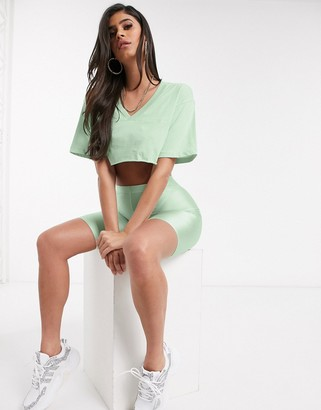 Asos DESIGN co-ord super crop cut off tee with v neck in mint