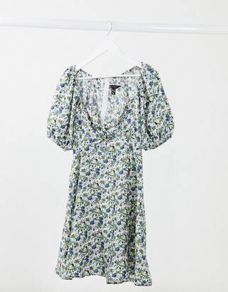 New Look puff-sleeved tie-front mini dress in ditsy floral