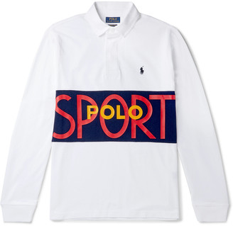 Polo Ralph Lauren Logo-Print Colour-Block Cotton-Jersey Rugby Shirt