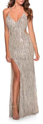 La Femme Fringe Sequin Side-Cutout Strappy-Back Gown