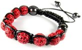 Beautiful Silver Jewelry Sparkling Red Rhinestone Ball Bead Adjustable Bracelet in Gift Box