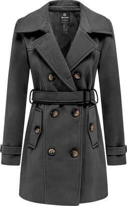 Wantdo Women's Casual Warm Coat Winter Wool Peacoat Double-Breasted Trench Coat Windproof Outerwear Jacket Dark Grey XL