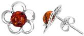 Goldmajor Sterling Silver Amber Flower Stud Earrings, Silver/Orange